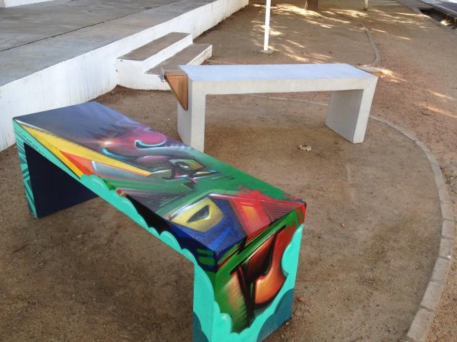 Mak1One's graffiti bench, Kom Sit Stellenbosch