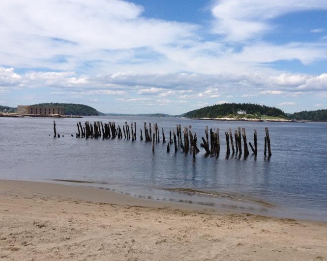 Remains of a pier, Popham Beach, Maine