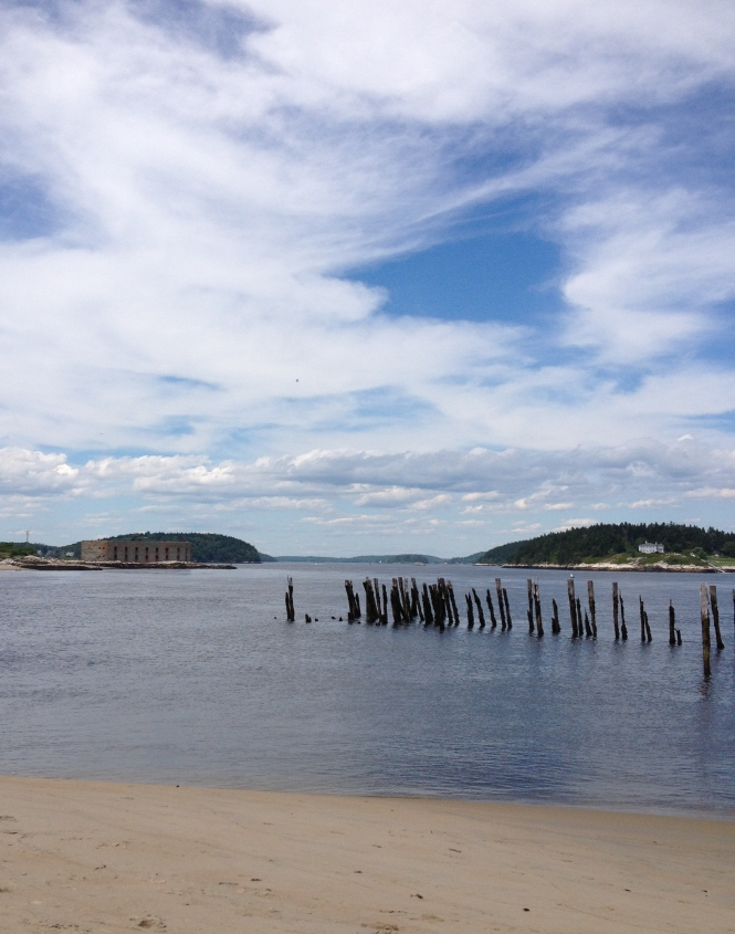 Popham Fort and remains of a pier, Popham Beach, Maine