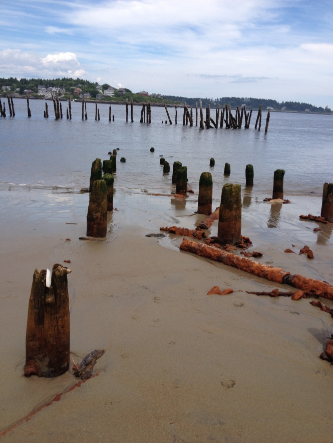 Pier remains, Popham Beach, Maine