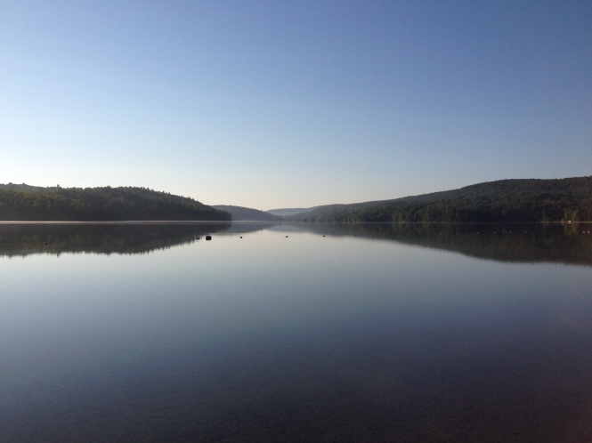 Calm morning for a run, Lac Philippe, Quebec, Copyright Silverleaf 2014