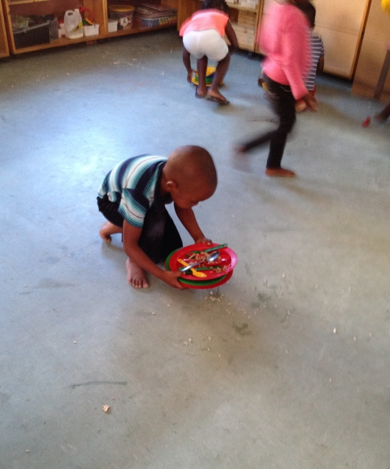 Cleaning up after Lunch, Masiphumelele Creche, South Africa, Copyright Silverleaf 2014