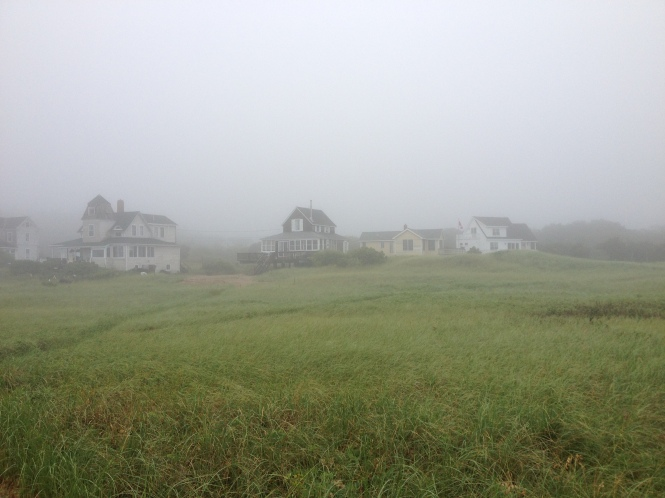 New England Beach Houses in Fog, Copyright Silverleaf 2014